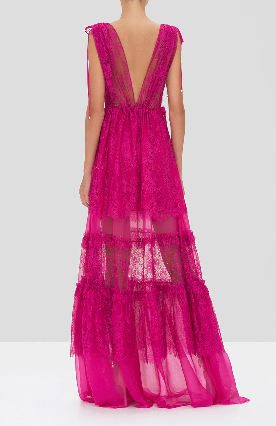 Alexis Umbria Dress in Fuchsia from the Holiday 2019 Ready To Wear Collection - Rear View