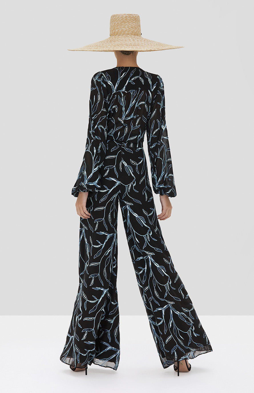 Alexis Valez Top and Fallen Pant in Black Sequin Embroidery from the Spring Summer 2020 Collection - Rear View
