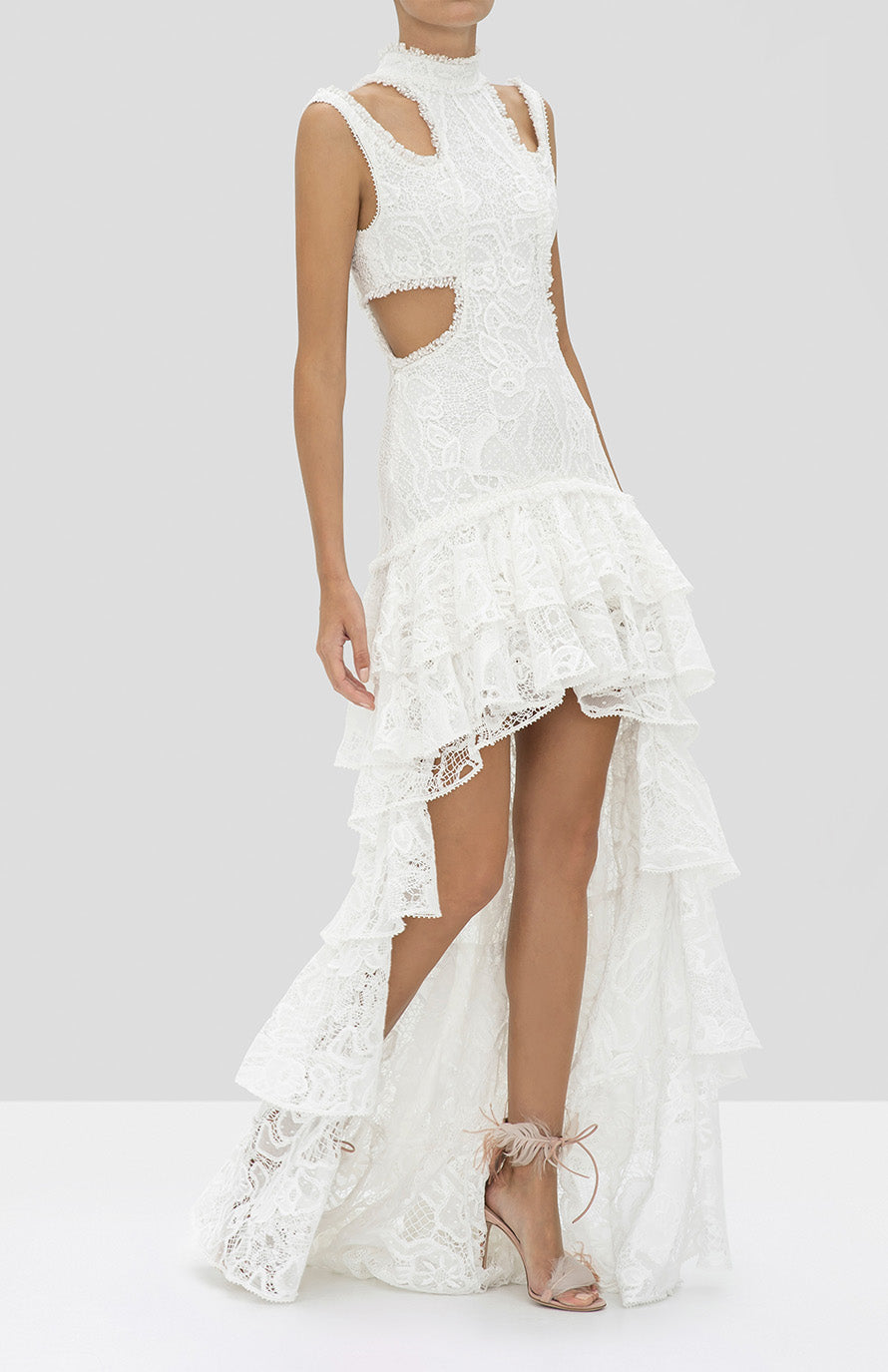 Alexis Varenna Dress in White from the Holiday 2019 Ready To Wear Collection - Rear View