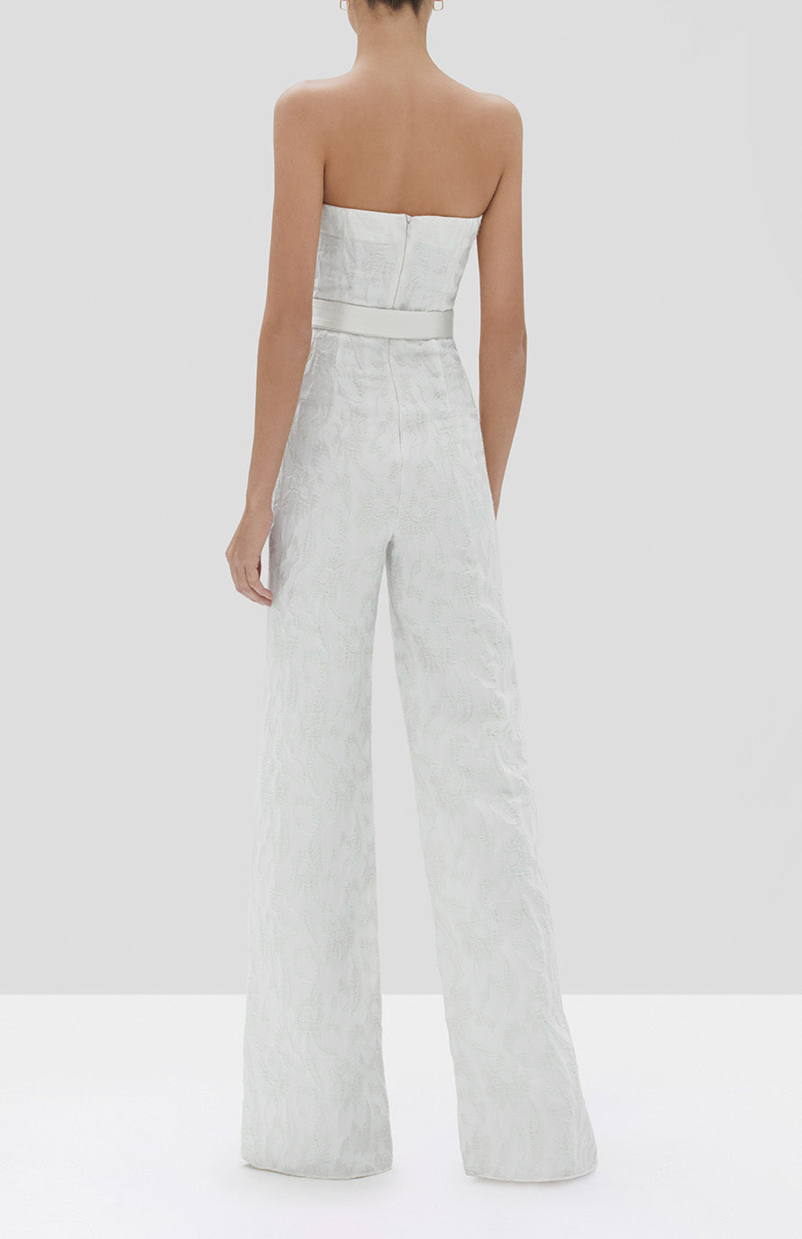Alexis Venetia Jumpsuit in White Floral Jacquard from the Fall Winter 2019 Ready To Wear Collection - Rear View
