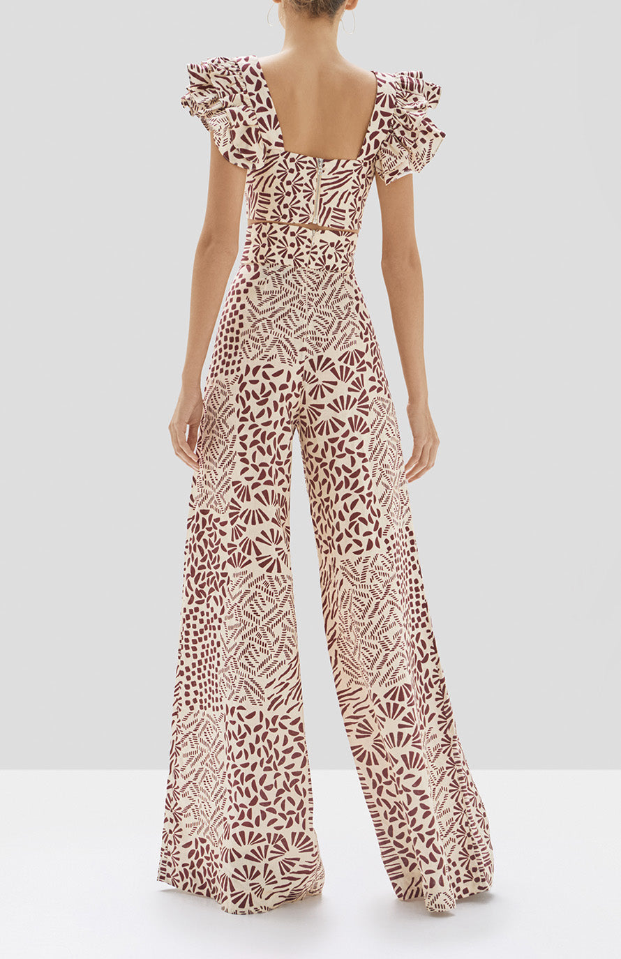 Alexis Verna Top and Neassa Pant in Burgundy Abstract from Pre Spring 2020 Collection - Rear View