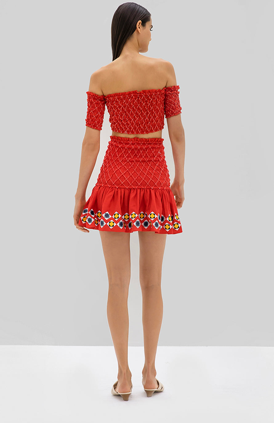 Alexis Ghada top and Solomon Skirt red geometric embroidery - Rear View