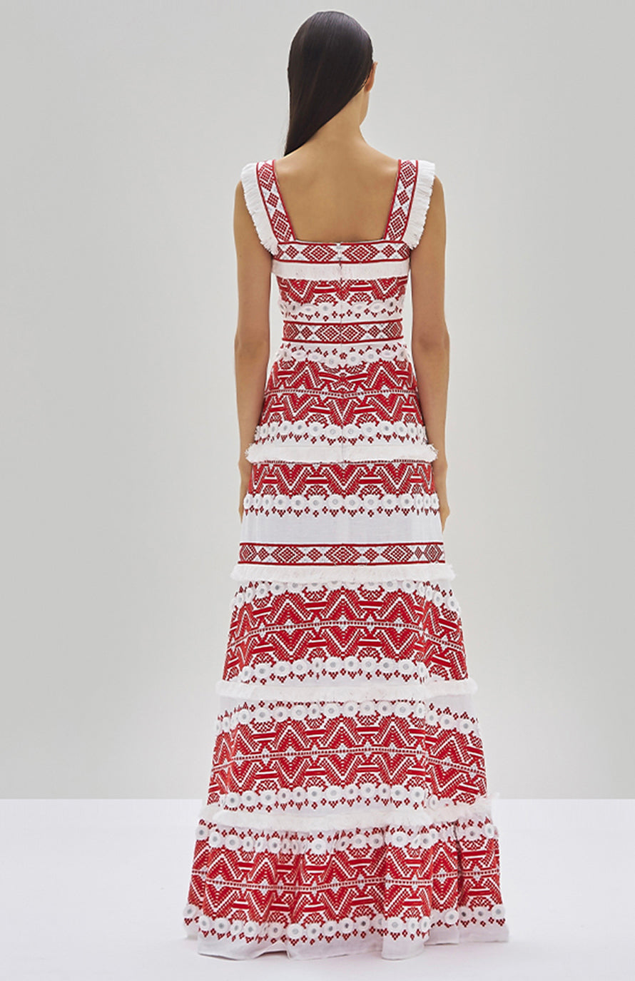 Alexis Leonora Dress Rich Embroidery Red - Rear View