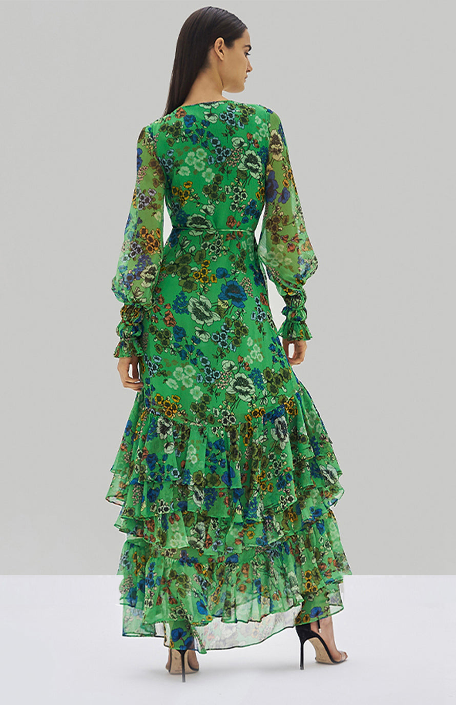 Alexis Solace Dress Eden Floral Green - Rear View