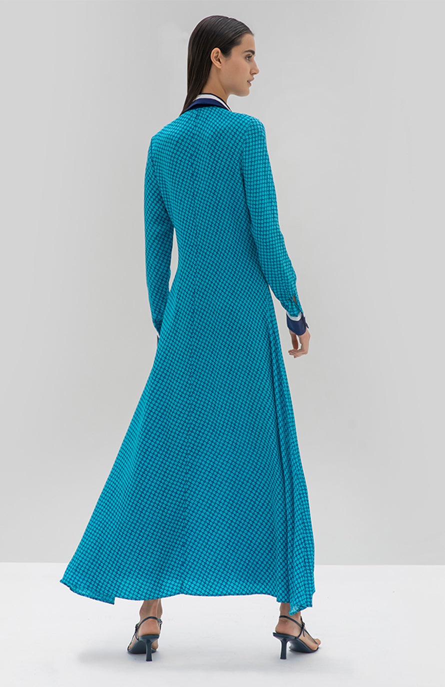 Alexis Assa long Dress Geometric Blue - Rear View