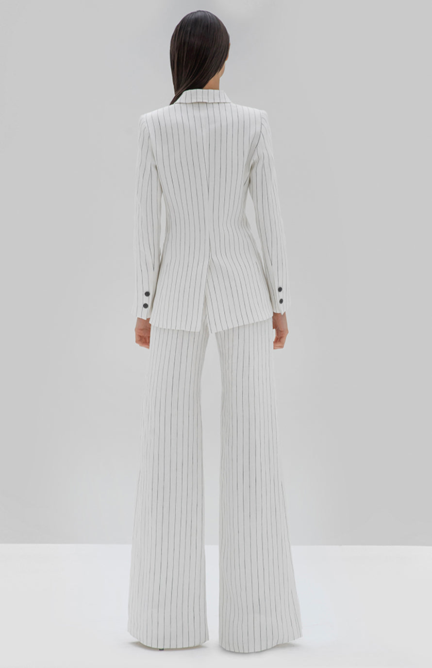 Alexis Wrenna Blazer white pinstripe - Rear View