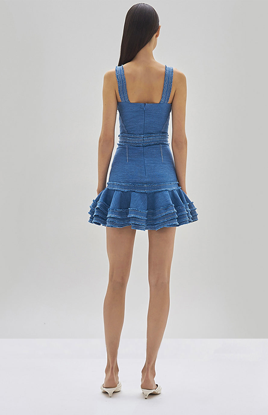 Alexis Judith Dress Shell Blue - Rear View