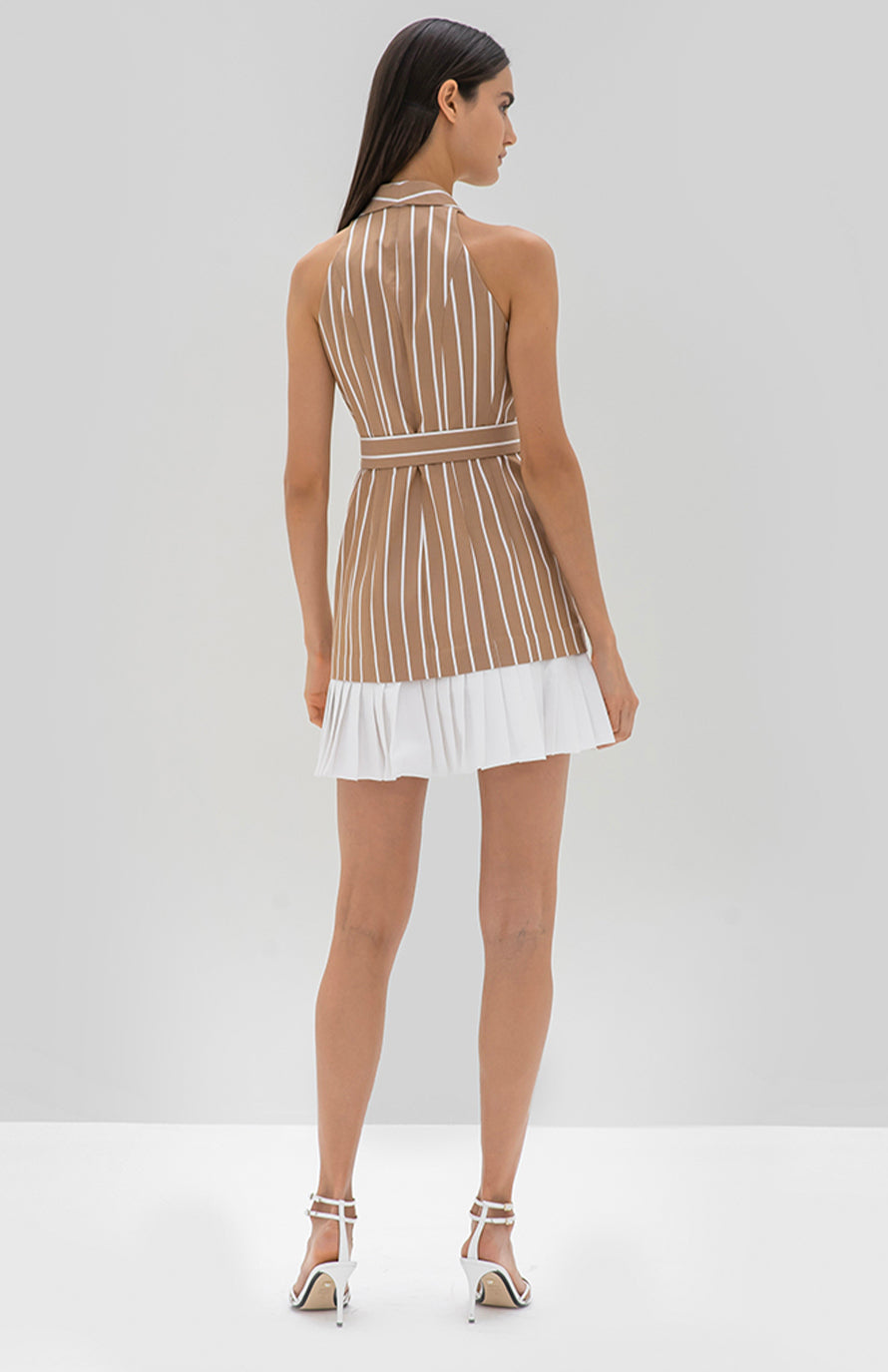 Alexis Carmona Dress Tan stripe - Rear View