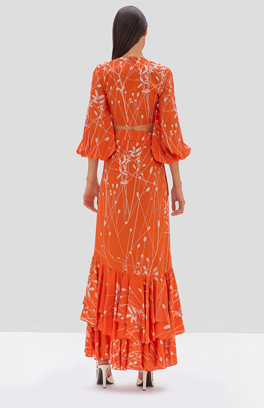 Alexis Benedetto skirt coral petals - Rear View