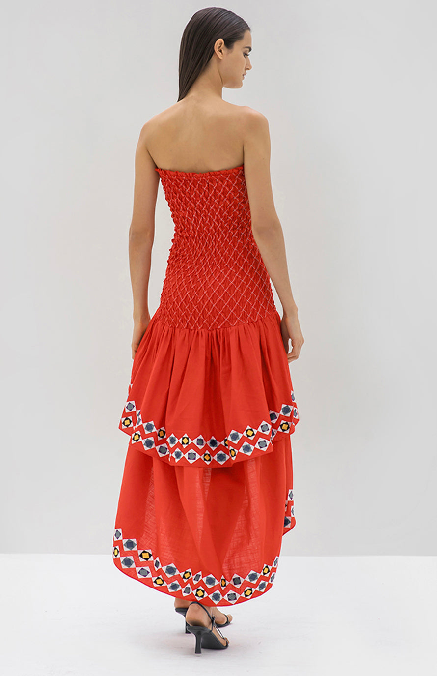 Alexis Revada Dress red geometric embroidery - Rear View