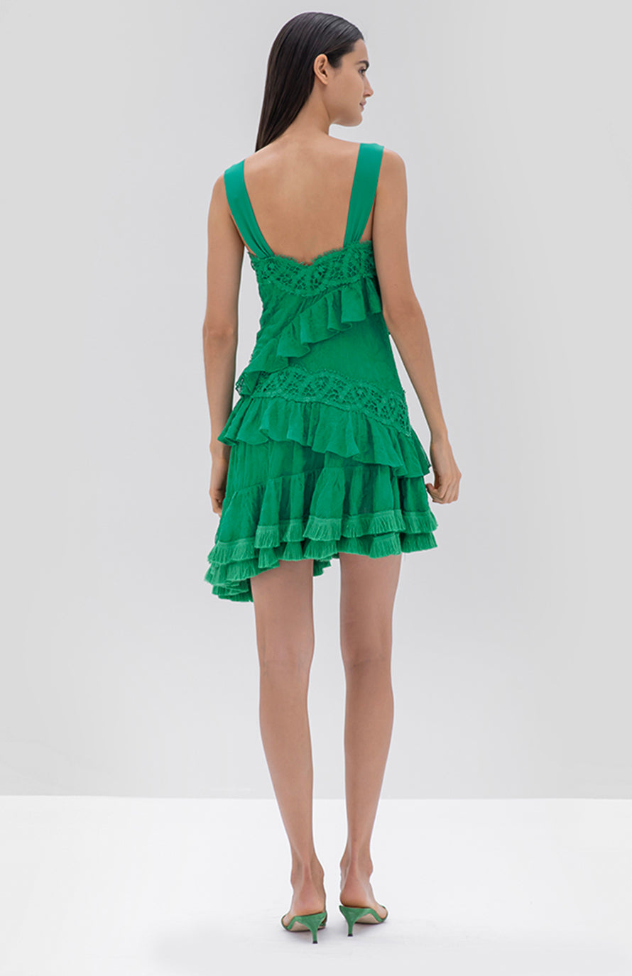 Alexis Lakshmi Dress Emerald Green - Rear View