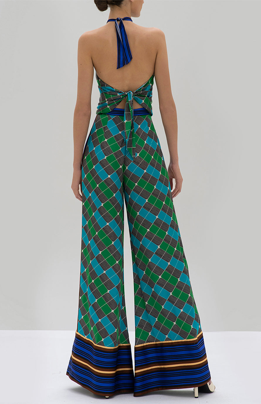 Alexis Hirsch Top and Roel Pant Green Geo Scarf - Rear View