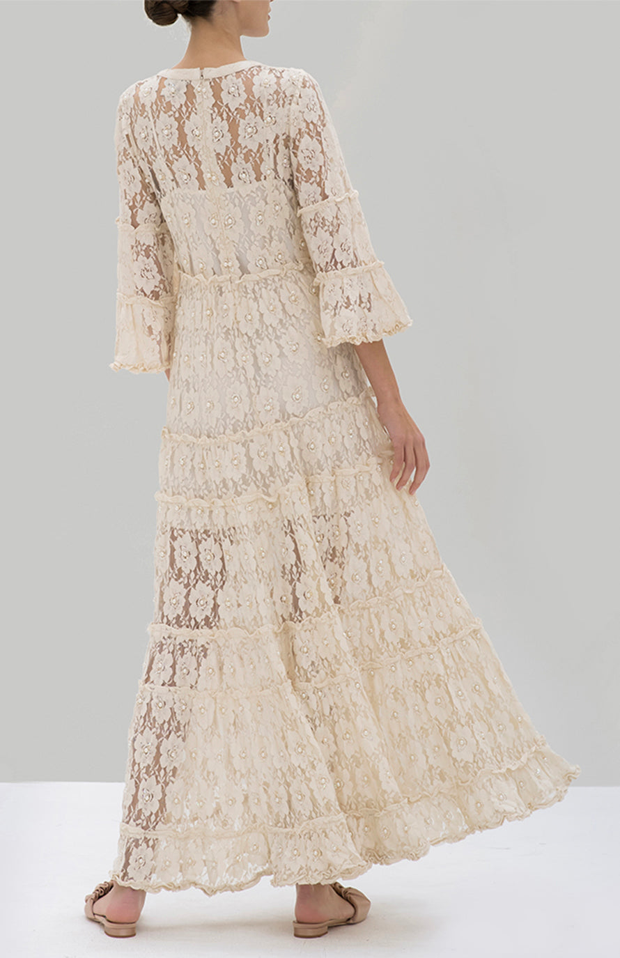 Alexis Alvin Dress Beaded Ivory lace - Rear View