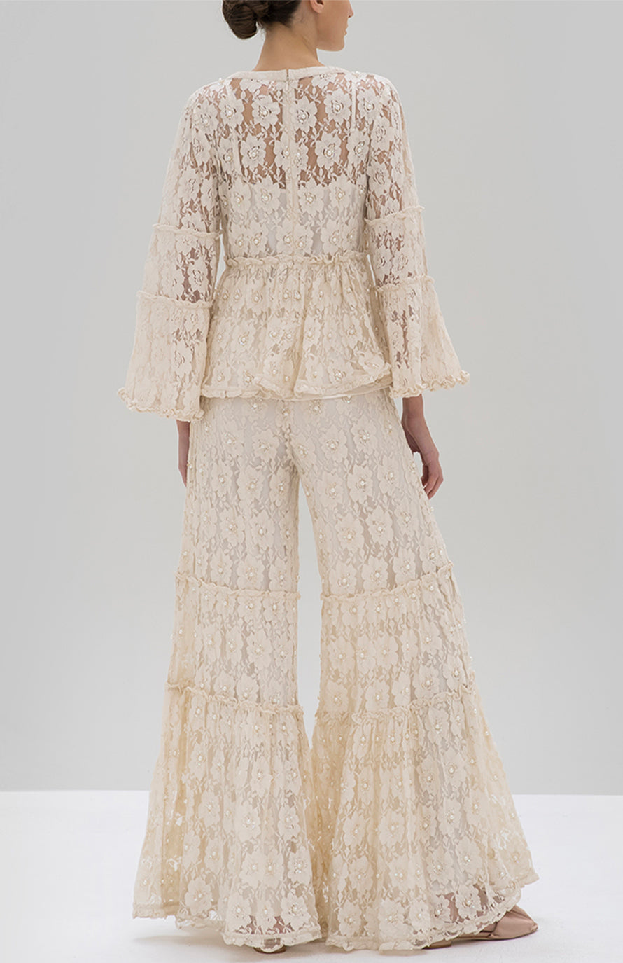 Alexis Tanisa Top and Byrne Pant Beaded Ivory Lace - Rear View