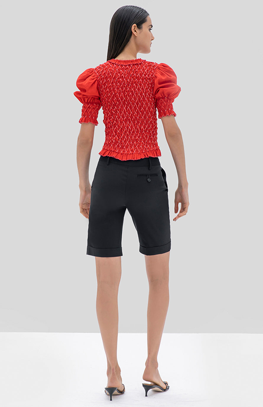 Alexis Altan top red geometric embroidery - Rear View