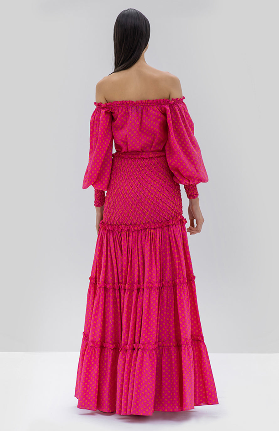 Alexis Thalssa Dress Fuchsia dot - Rear View