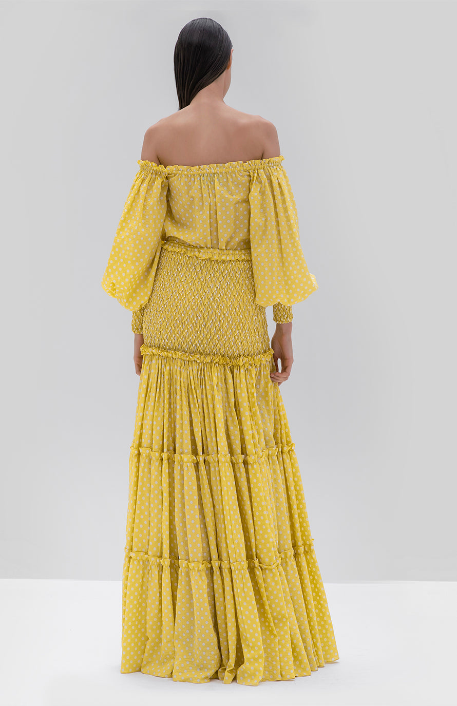 Alexis Thalssa Dress Yellow dot - Rear View