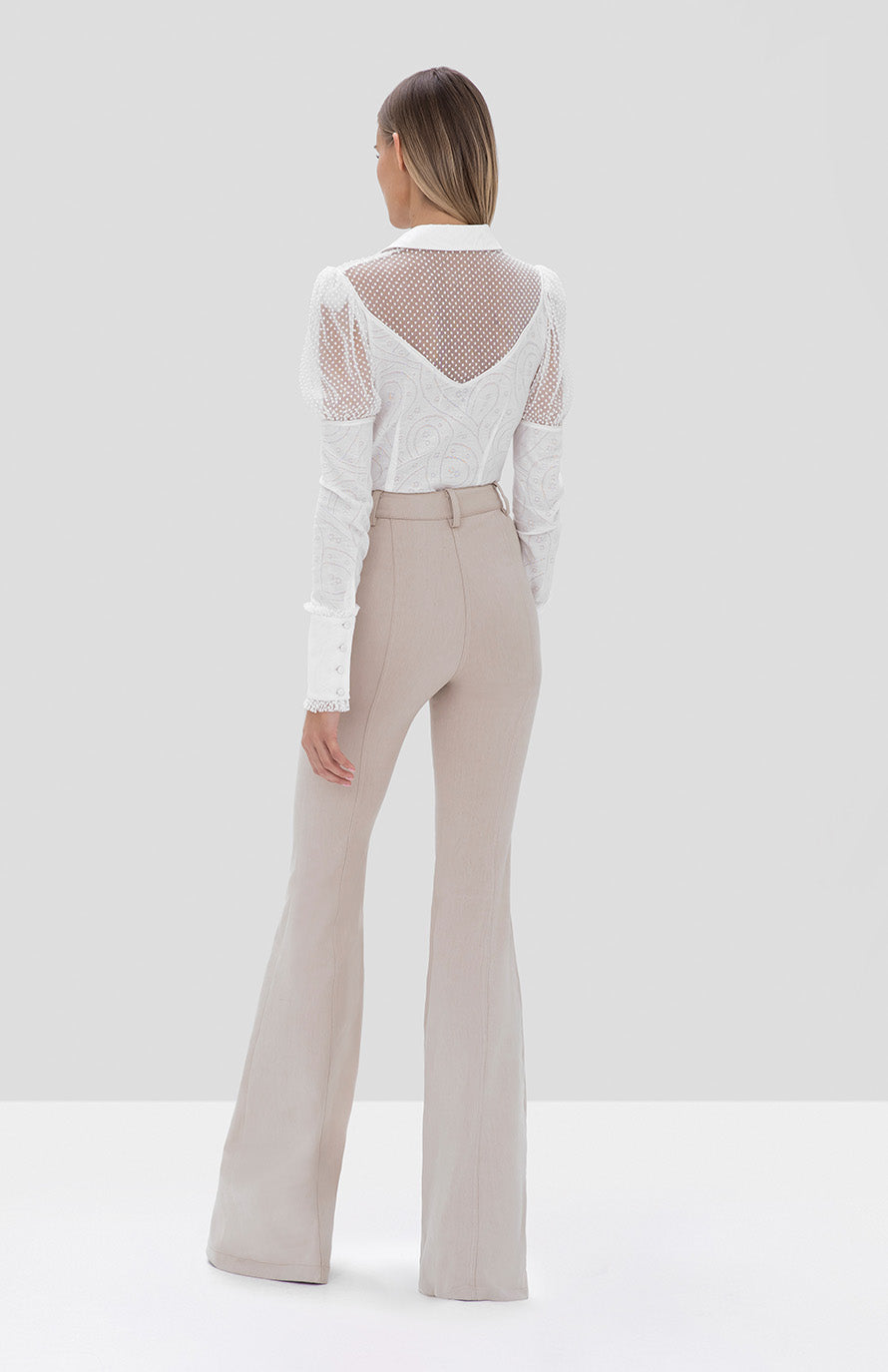 helene pant oyster denim, virginia top white - Rear View