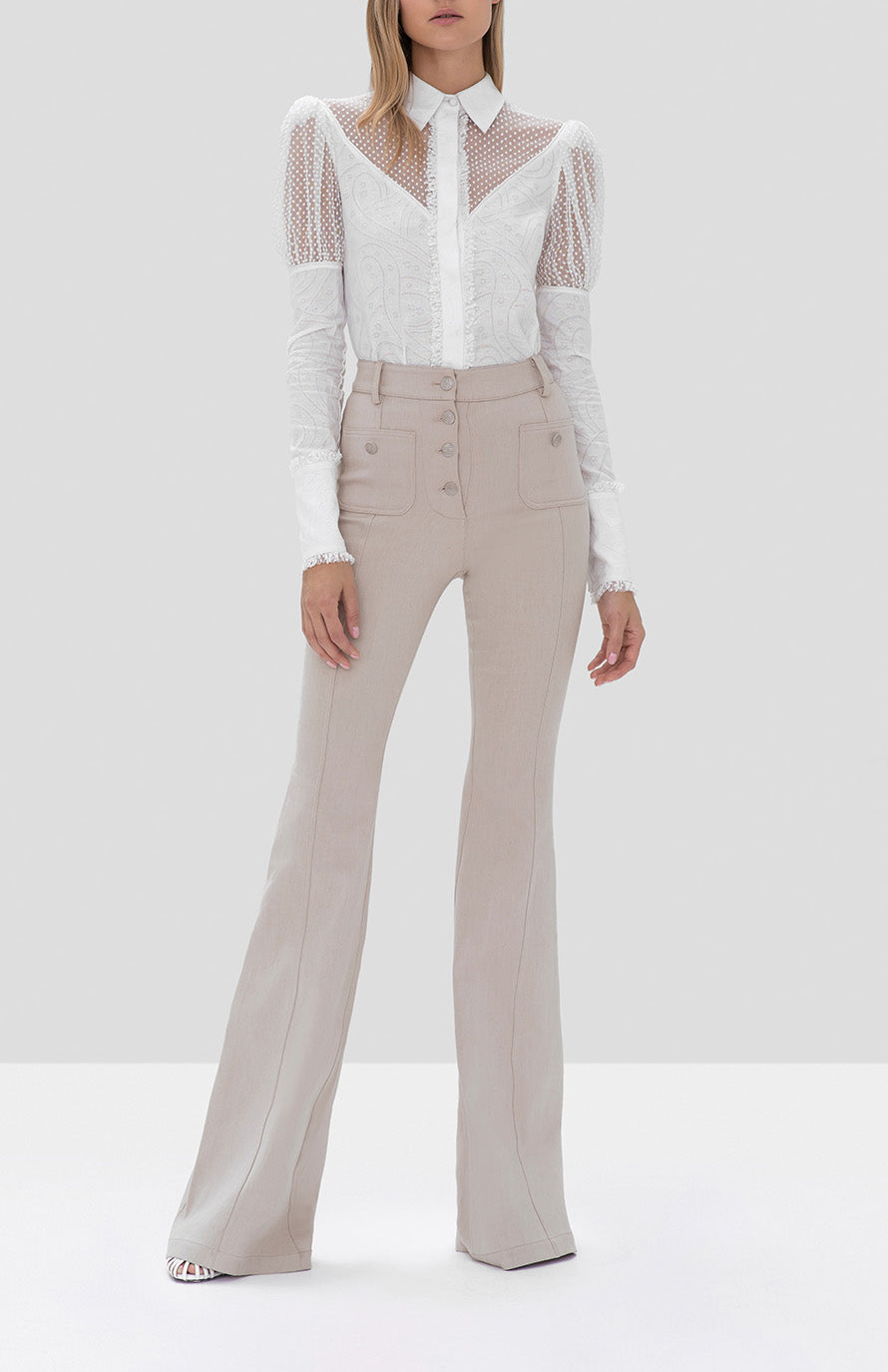Alexis Virginia Top in White and Helene Pant in Oyster Denim from the Fall Winter 2019 Ready To Wear Collection - Rear View