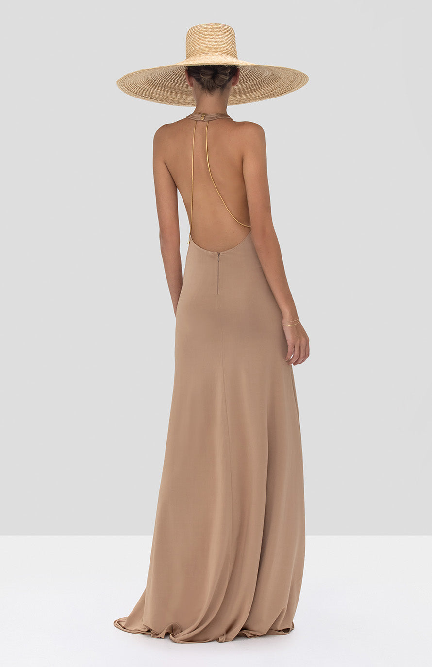 Alexis Xaverie Dress in Tan from the Spring Summer 2020 Collection - Rear View