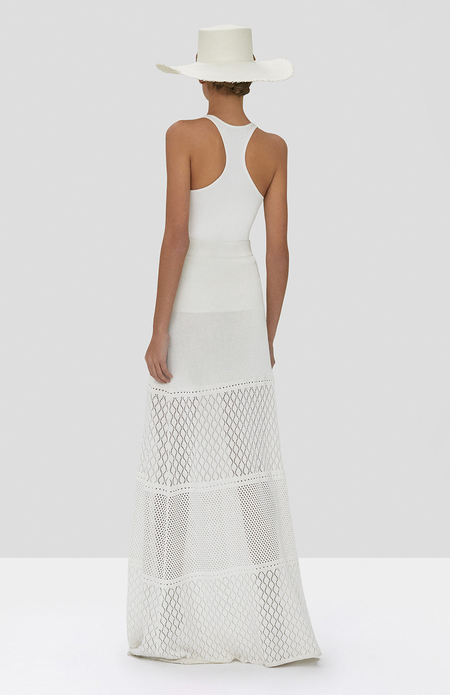 Alexis Ecco Skirt in White and Zeni Top in White from Spring Summer 2020 Collection - Rear View