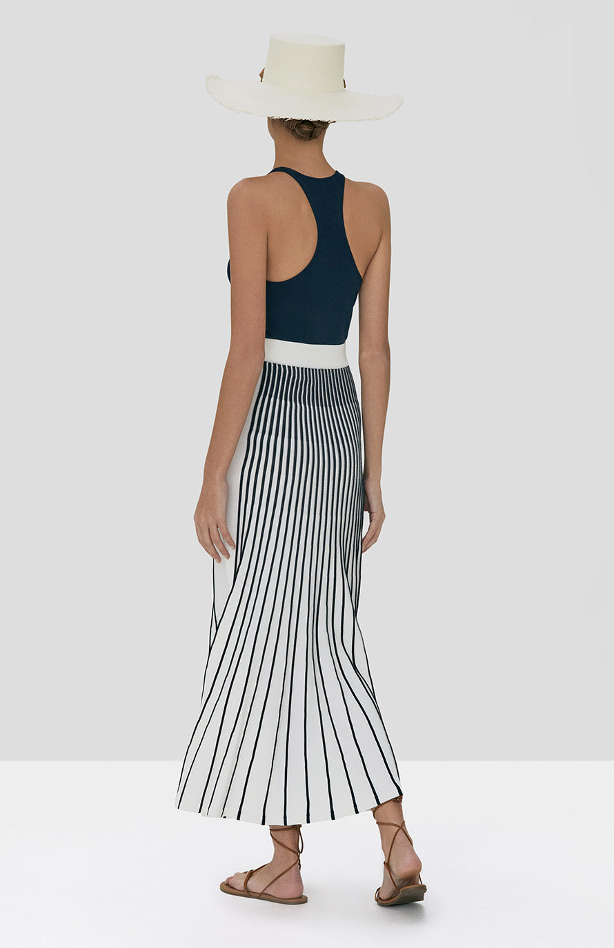 Alexis Zeni Top in Navy and Vani Skirt in Navy/White Stripes from Spring Summer 2020 Collection - Rear View
