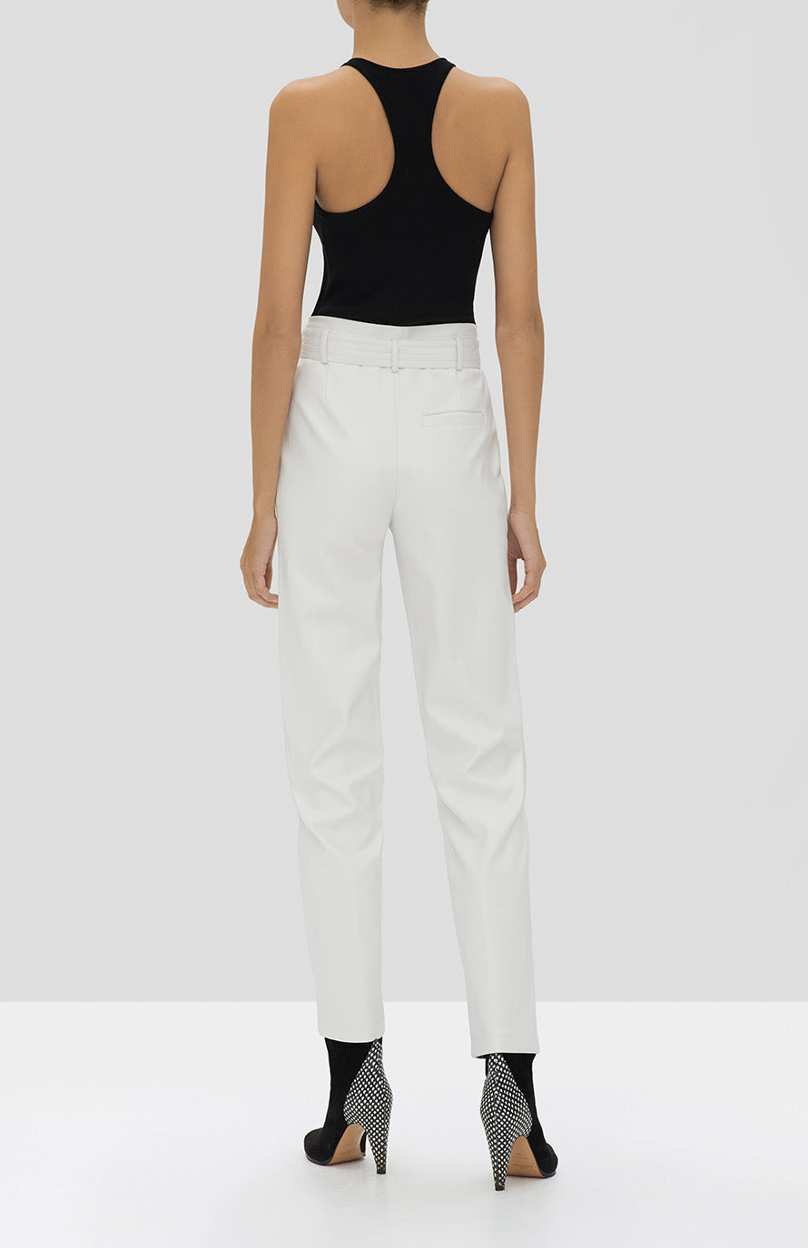 Alexis Zeni Top in Black and Castille Pant in White from the Holiday 2019 Ready To Wear Collection - Rear View