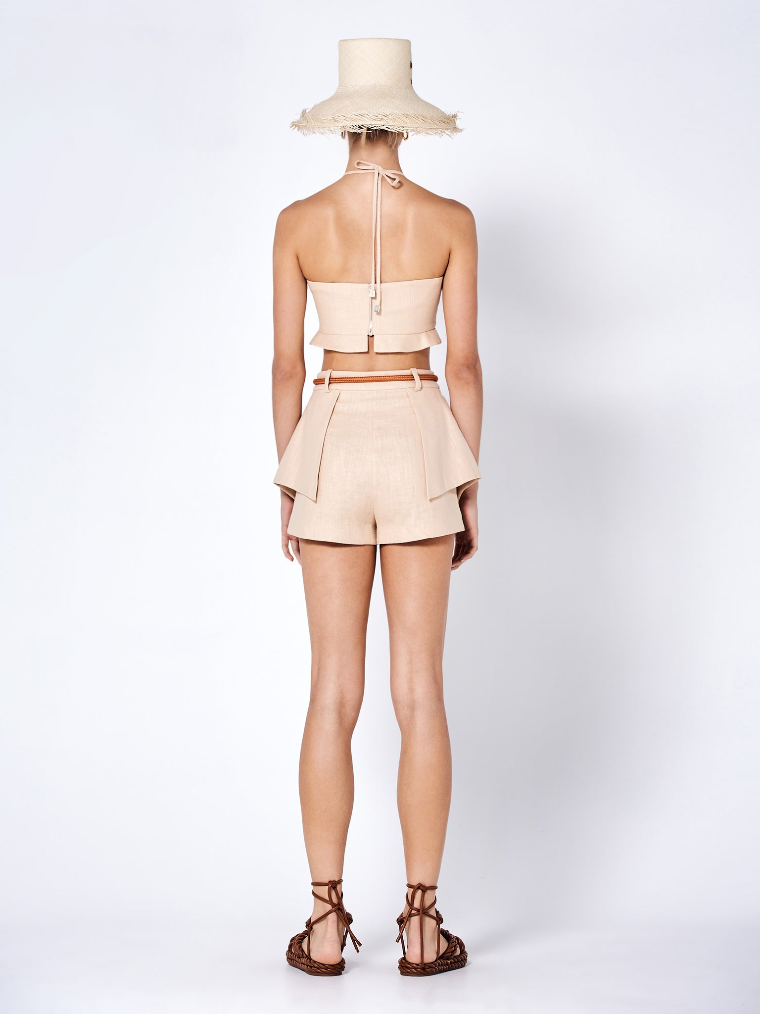 addy crop top in fawn - Rear View