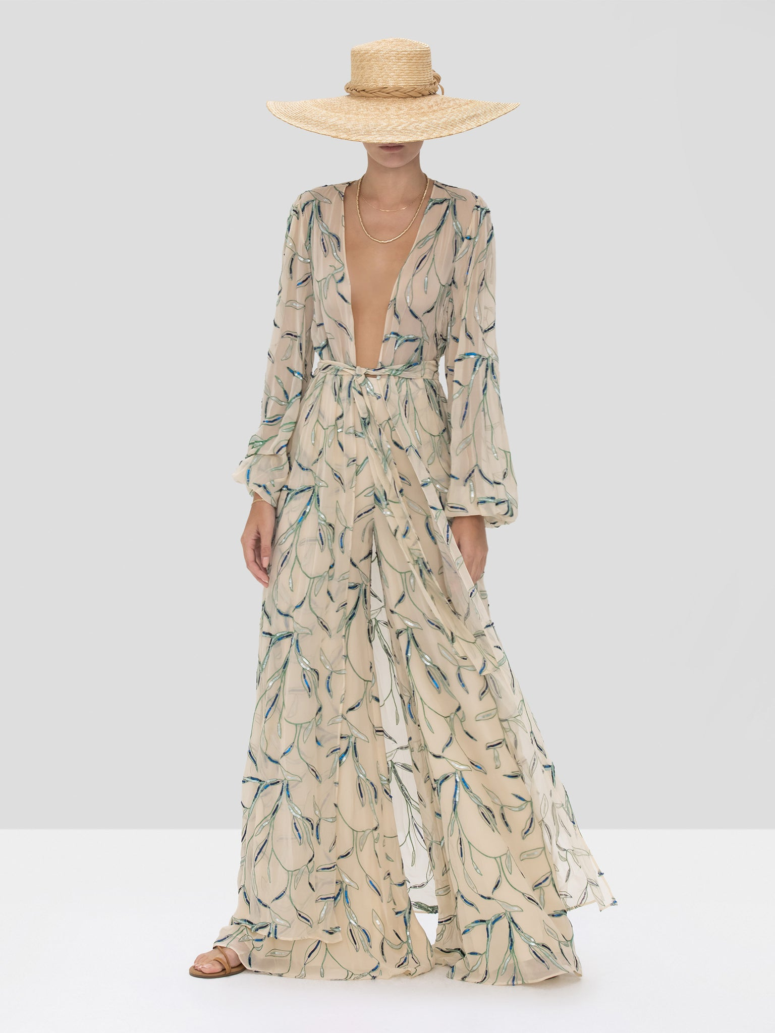 Alexis Fallen Pant and Amaia Kaftan in Tan Sequin Embroidery from the Spring Summer 2020 Collection