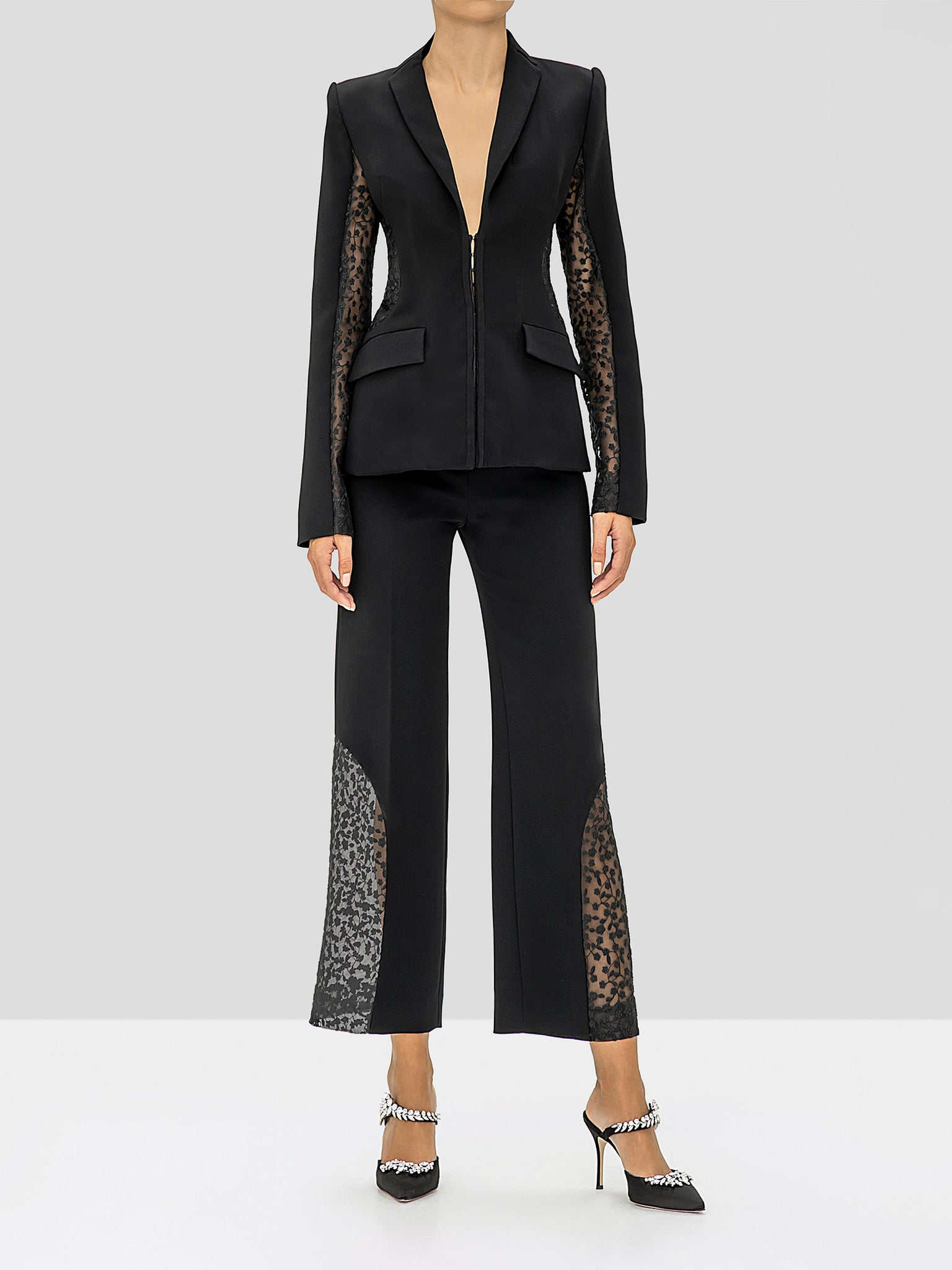 Alexis Amrita Jacket and Novata Pants in Black from the Fall Winter 2019 Ready To Wear Collection