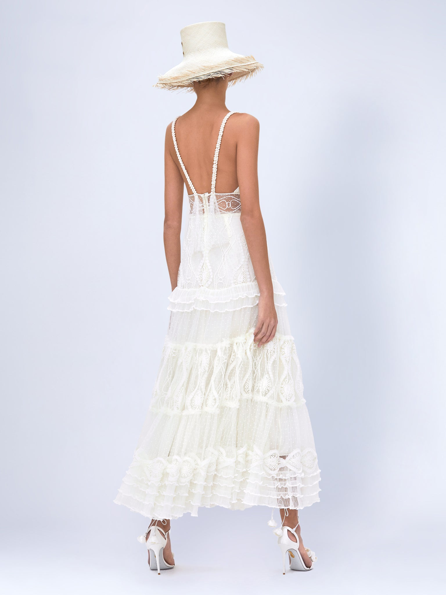 Alexis Arabella midi dress in off white featuring embroidered tulle tiers. Perfect dress for the bride-to-be. Dress for rehearsal dinners, bridal showers, and after party.  - Rear View