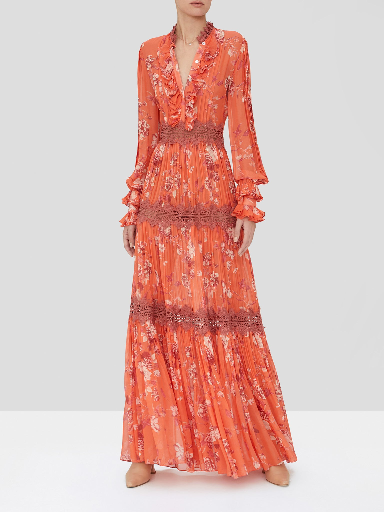 Alexis Armada maxi dress in coral.
