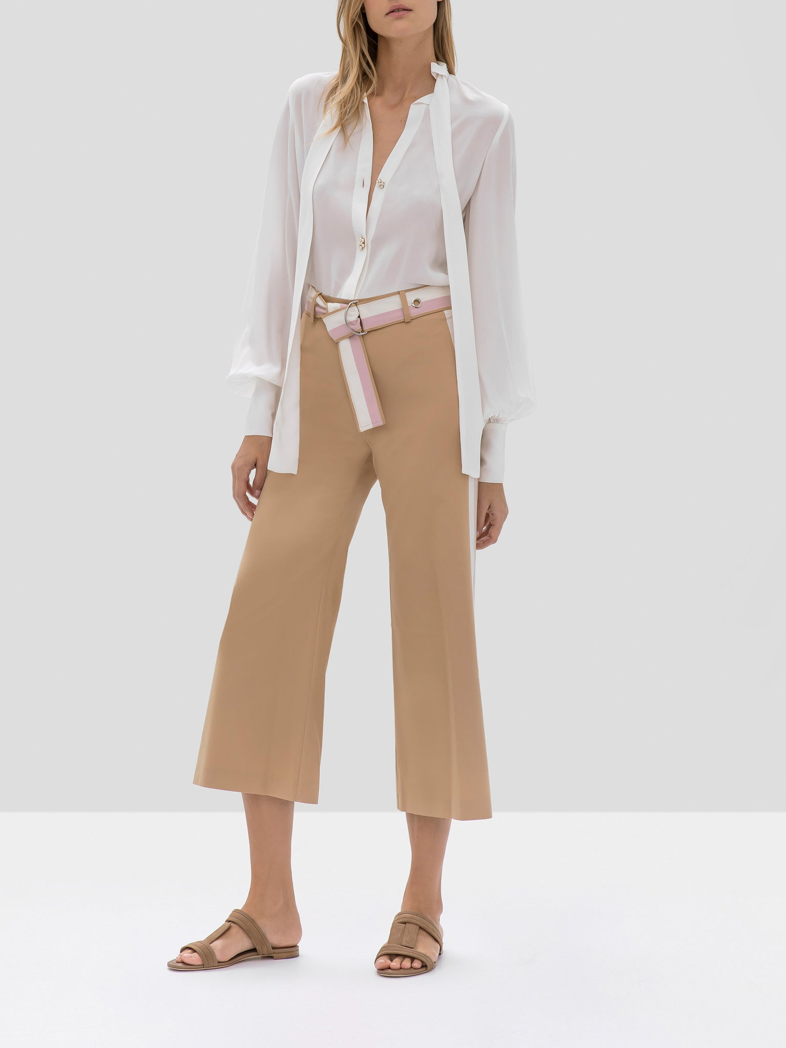 Alexis Aruca Top in White and Lennox Pant in Tan Striped from the Pre Fall 2019 Ready To Wear Collection