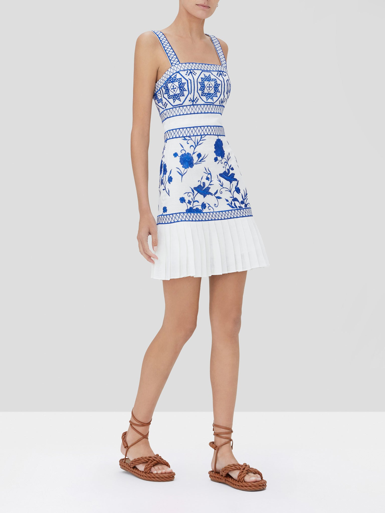 asteria dress in blue embroidery