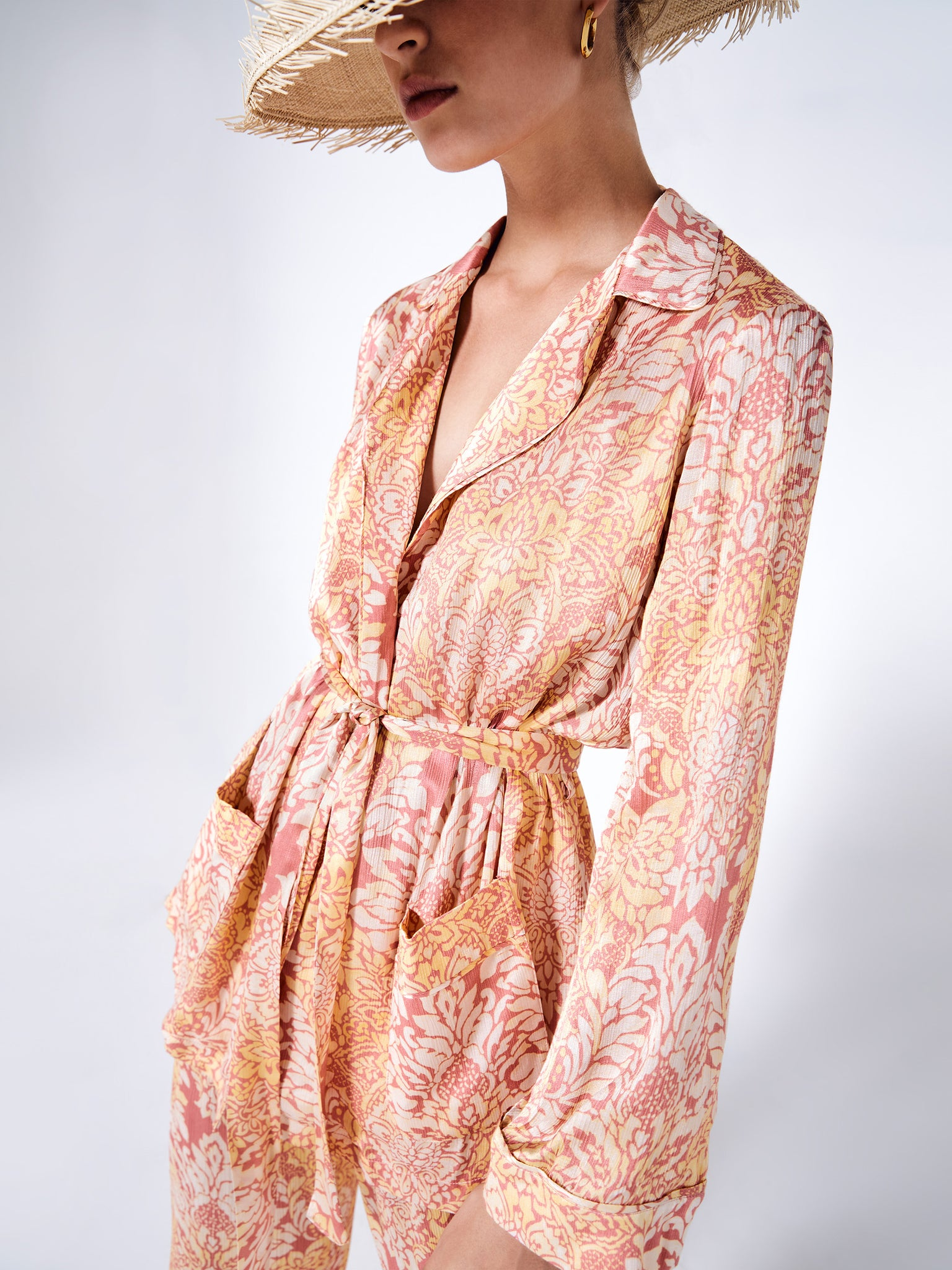 Alexis Aureta Robe in pink and orange floral - Rear View