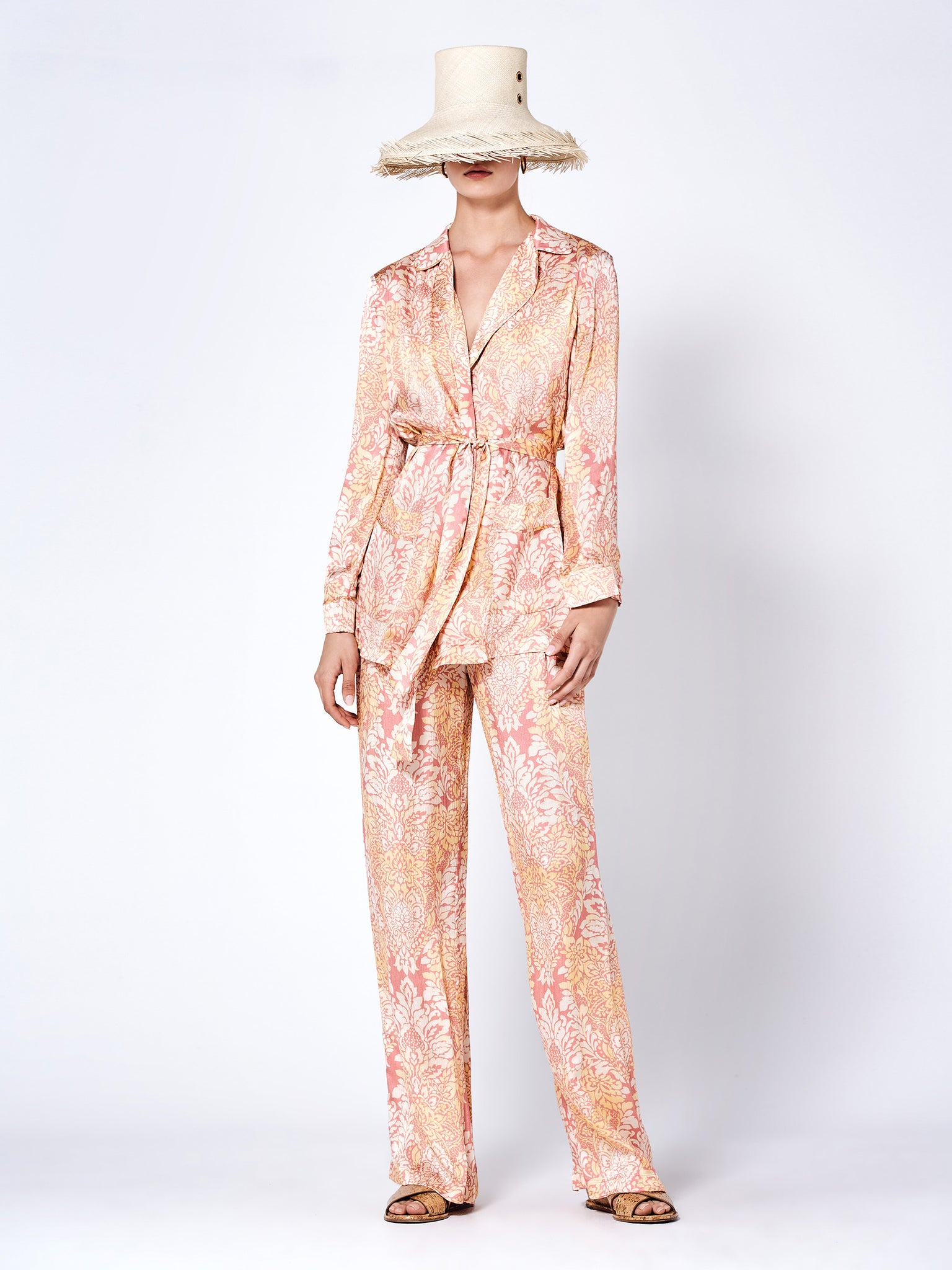 Alexis Aureta Robe in pink and orange floral