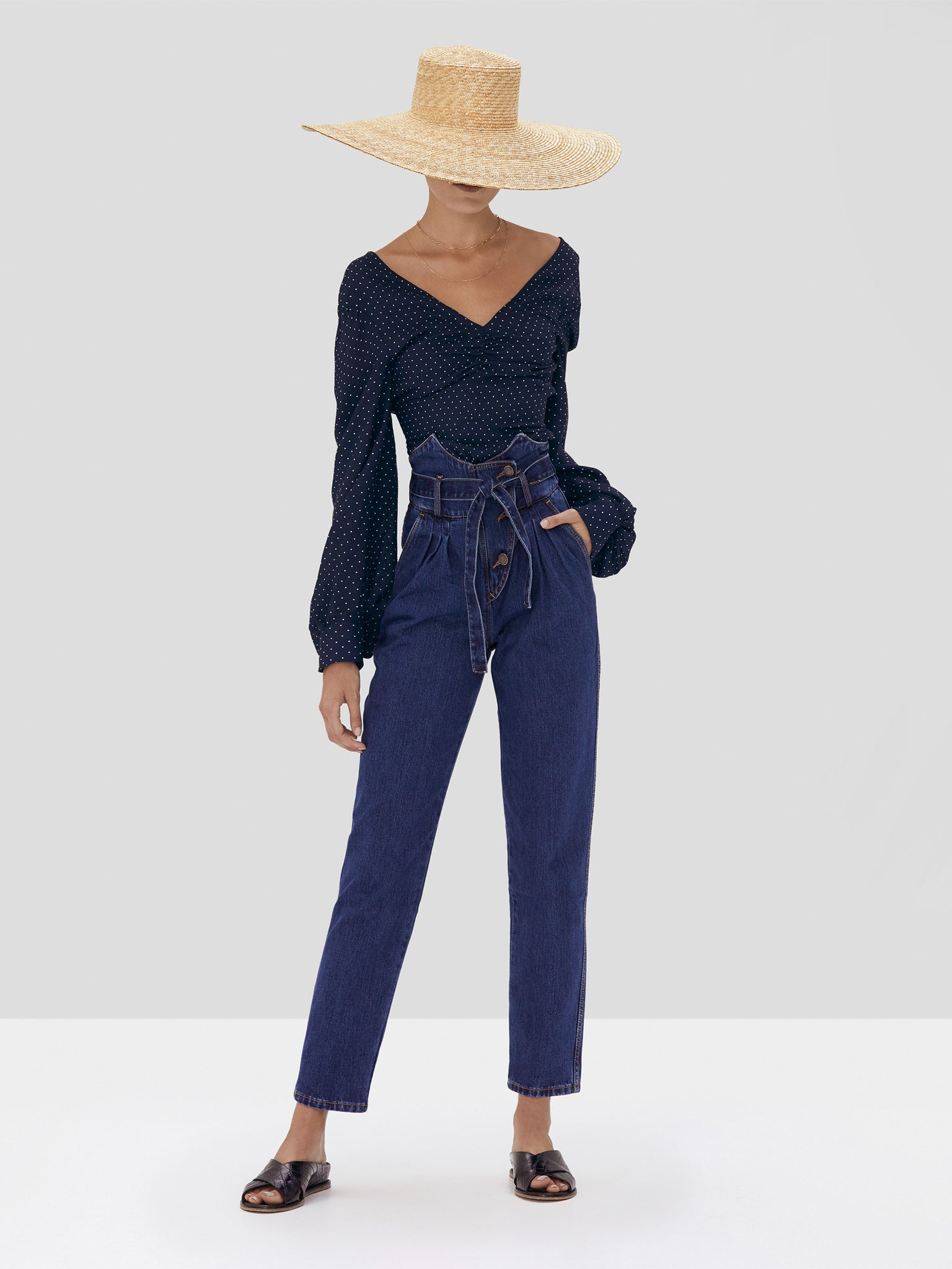 Alexis Avani Top in Navy Dot Linen from the Spring Summer 2020 Collection
