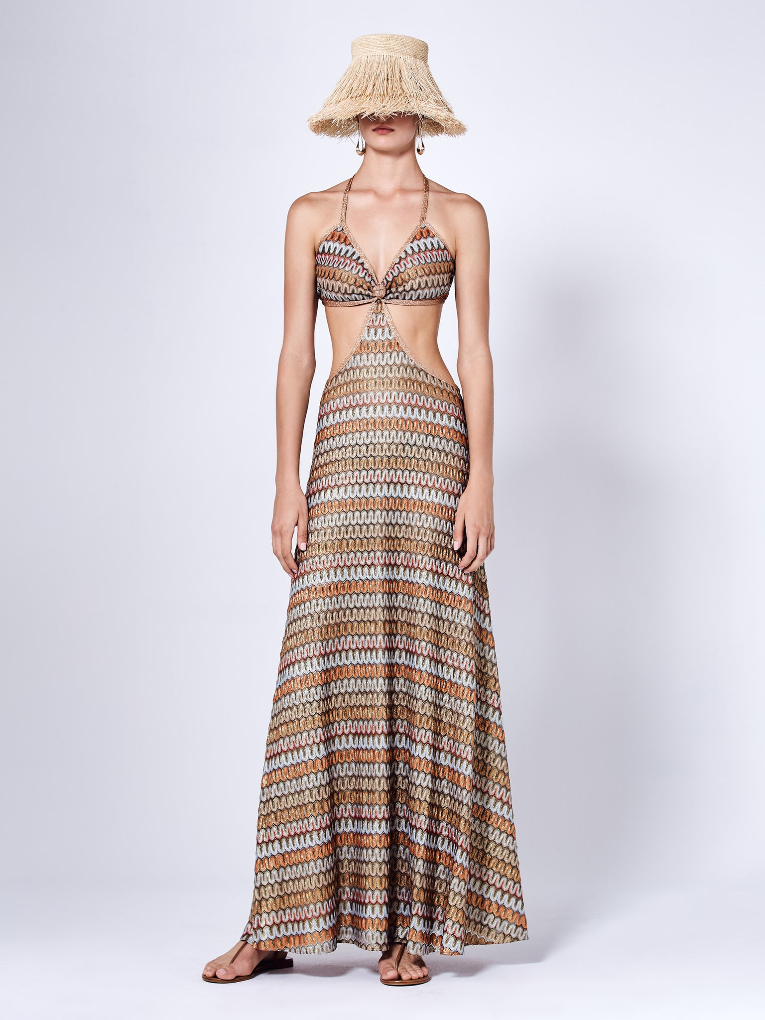 The Ayumi Maxi Dress in Chevron Multi Knit