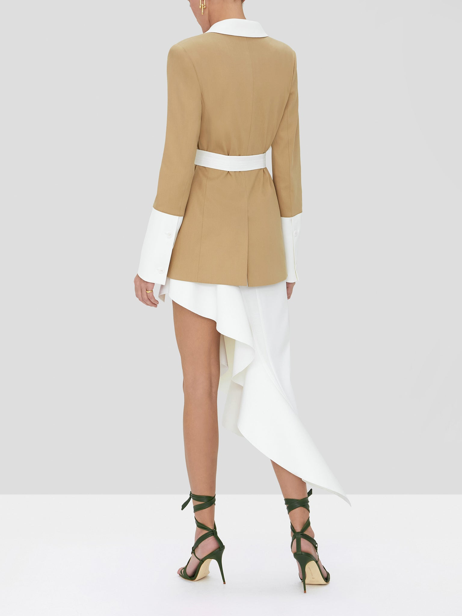The Alexis Baccio double breasted jacket in tan and white - Rear View