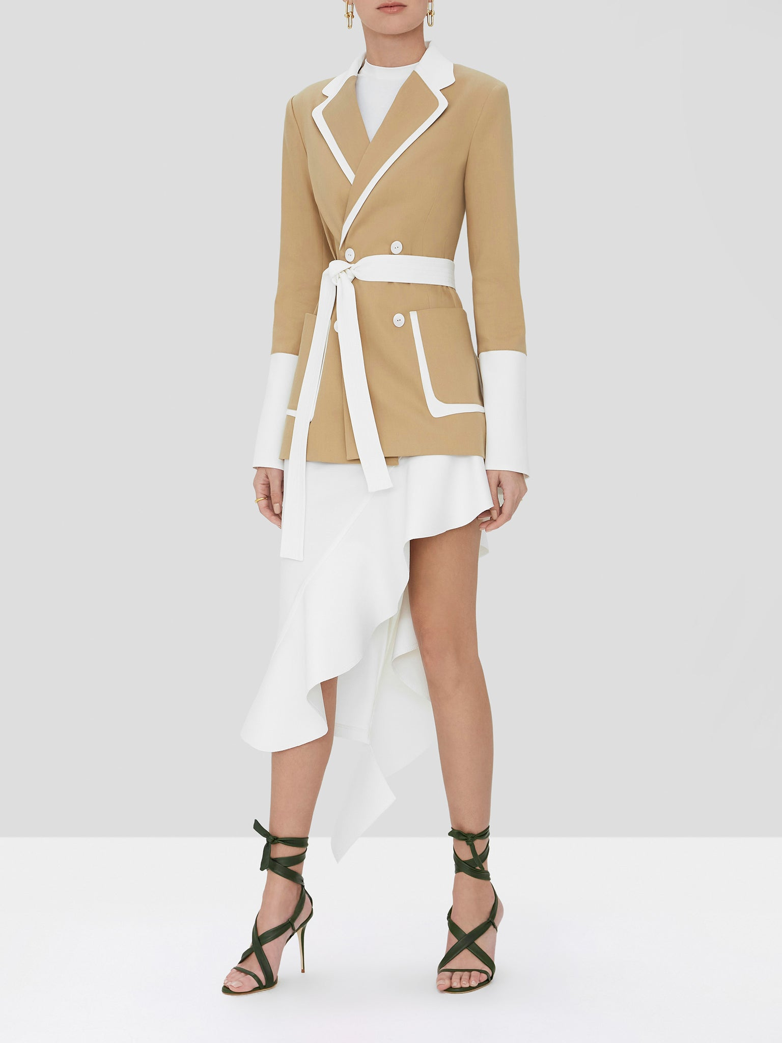 baccio jacket in tan/white