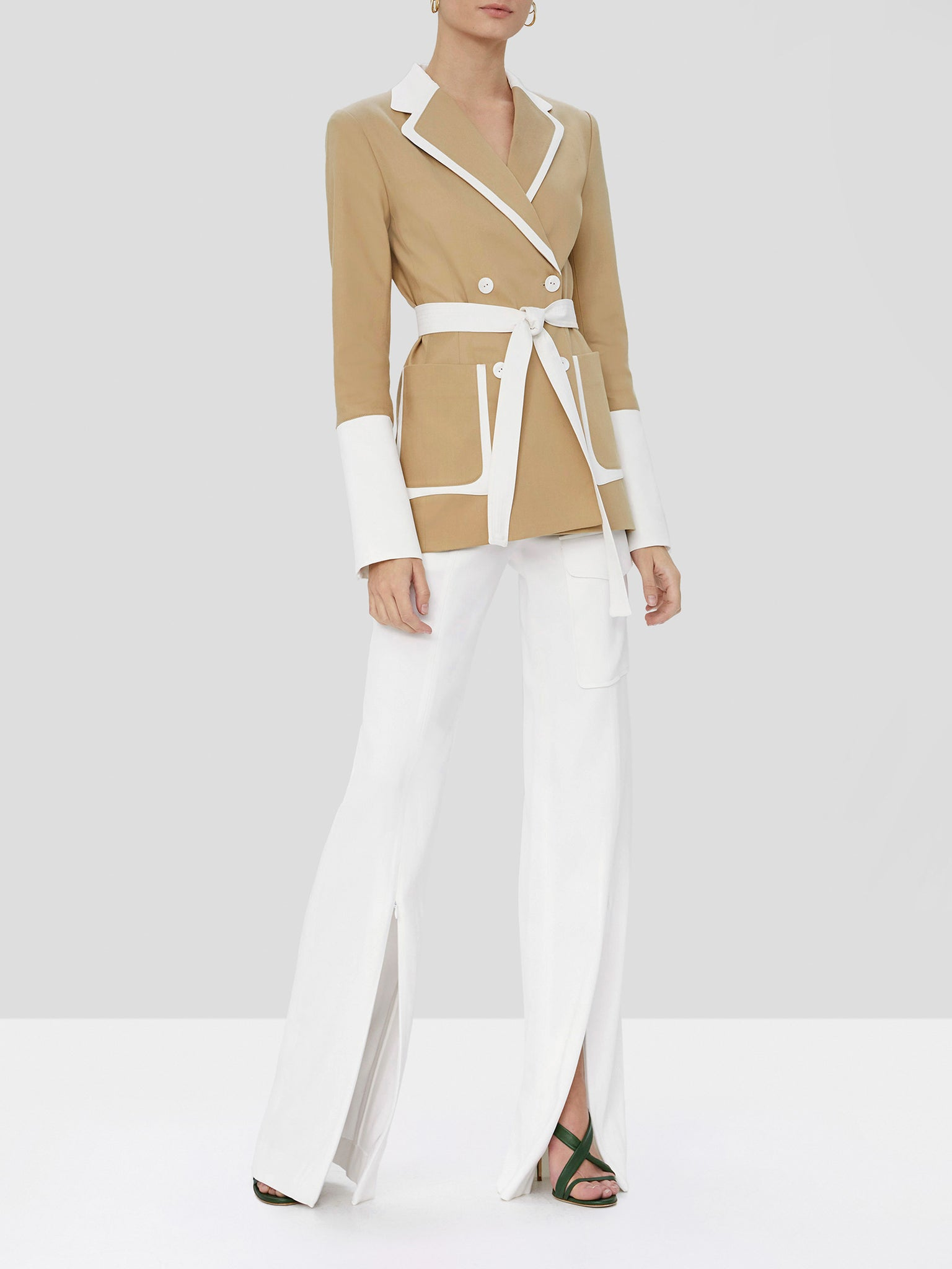 The Alexis Baccio double breasted jacket in tan and white