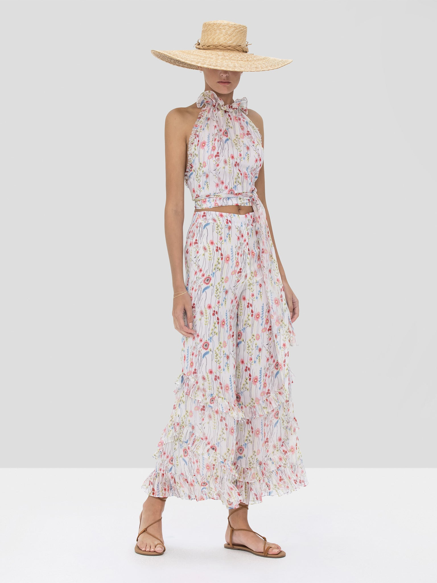 Alexis Balbina Crop Top and Faizel Pant in White Bouquet from Spring Summer 2020 Collection