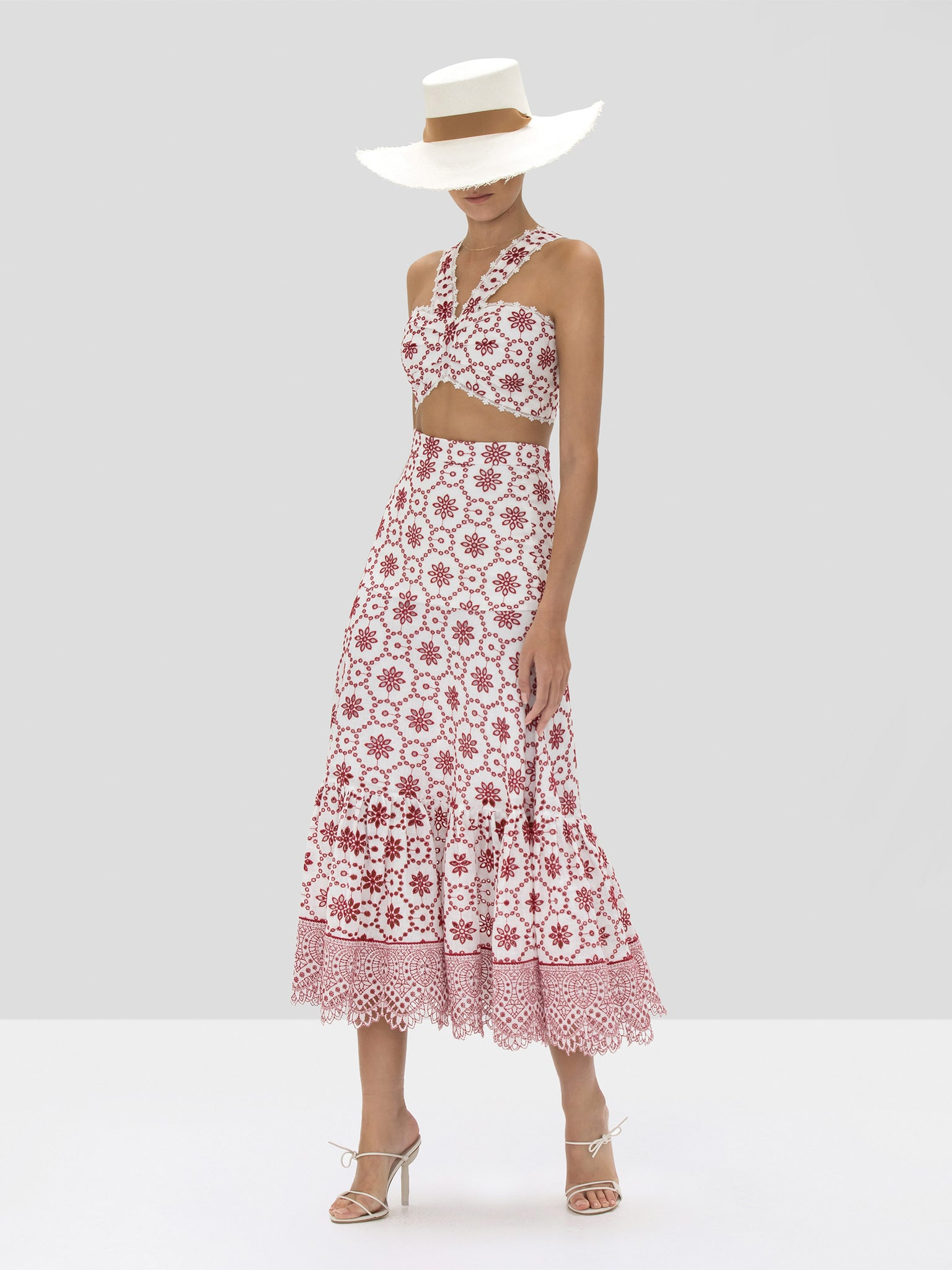 Alexis Barta Crop Top and Paulina Skirt in Berry Eyelet Embroidery from Spring Summer 2020