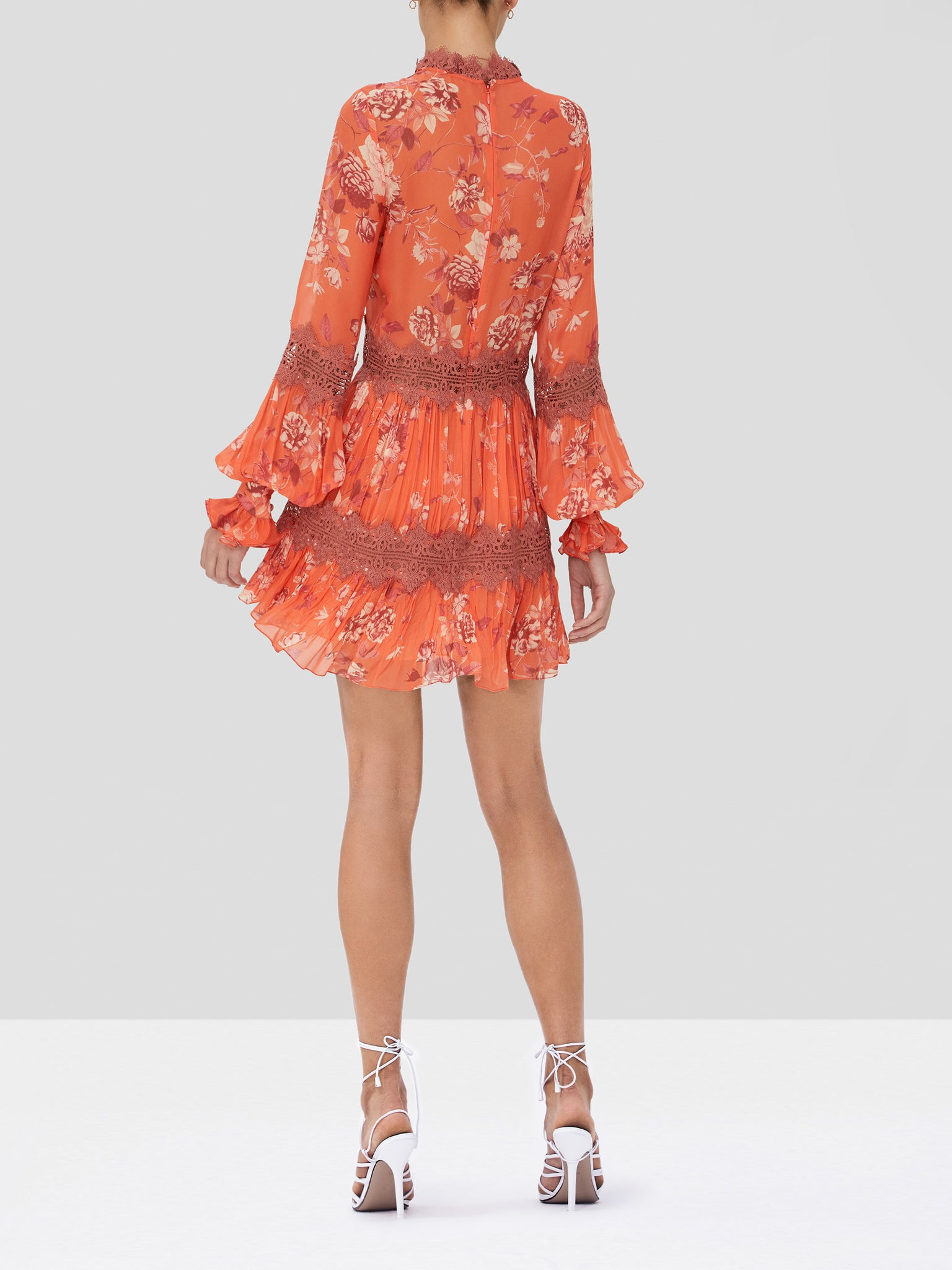 Alexis Beaumont long sleeve mini dress in coral - Rear View
