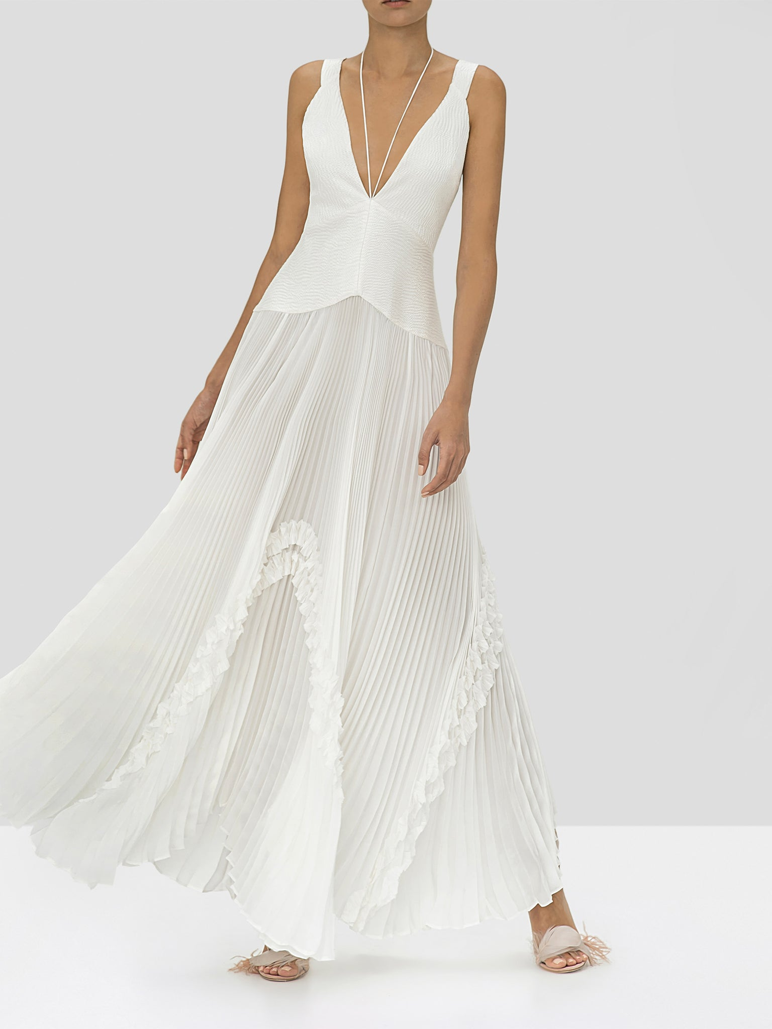 Alexis Bellona Dress in Ivory from the Holiday 2019 Ready To Wear Collection