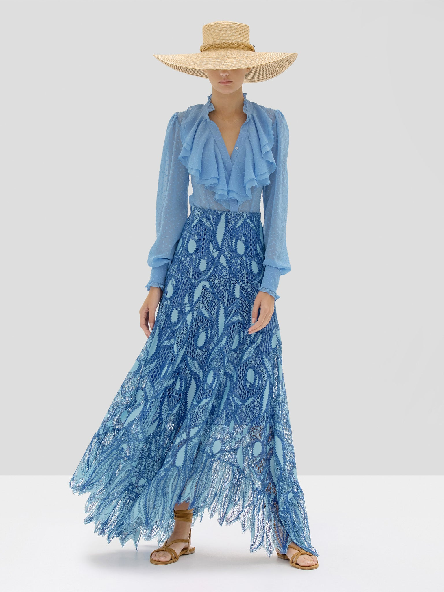 Alexis Benham Top and Kauri Skirt in Blue Lace Embroidery from Spring Summer 2020