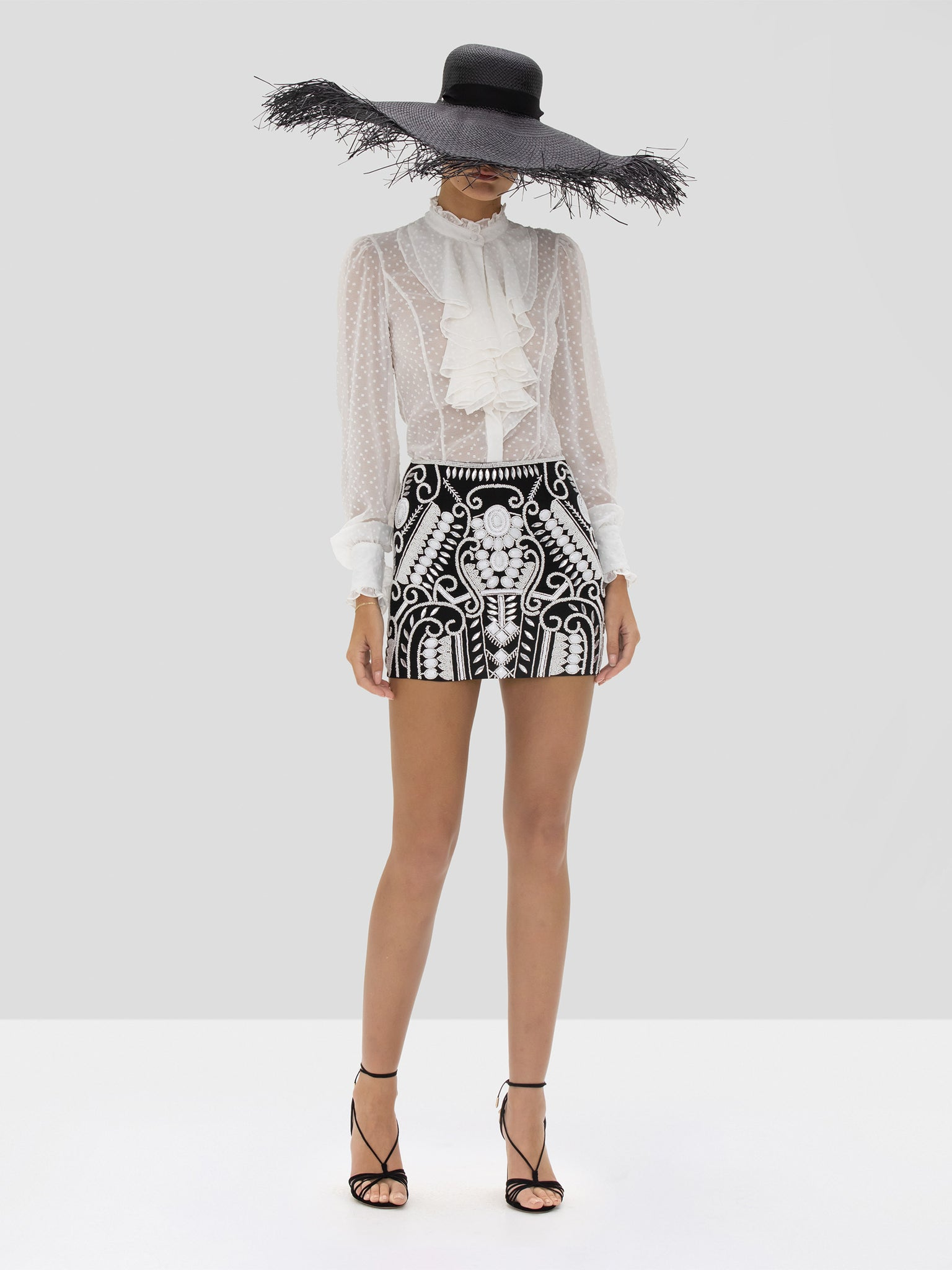 Alexis Benham Top in White and Cadelle Skirt in Black White Embroidery from the Spring Summer 2020 Collection
