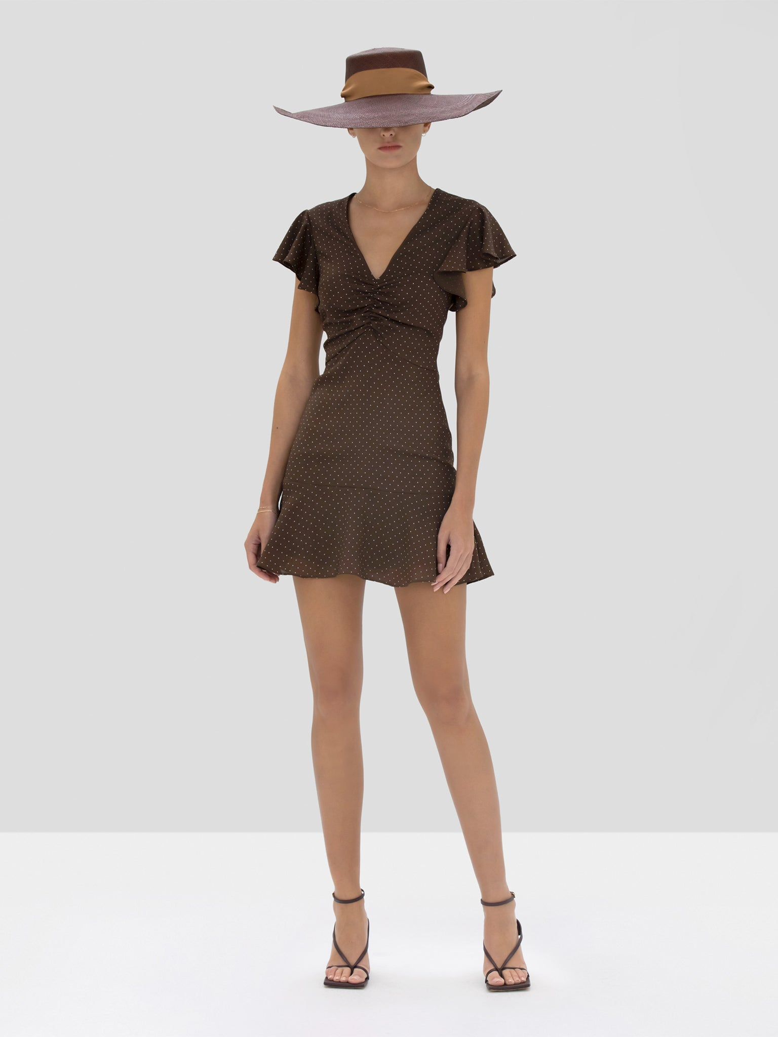 Alexis Benza Dress in Mocha Dot Linen from the Spring Summer 2020 Collection