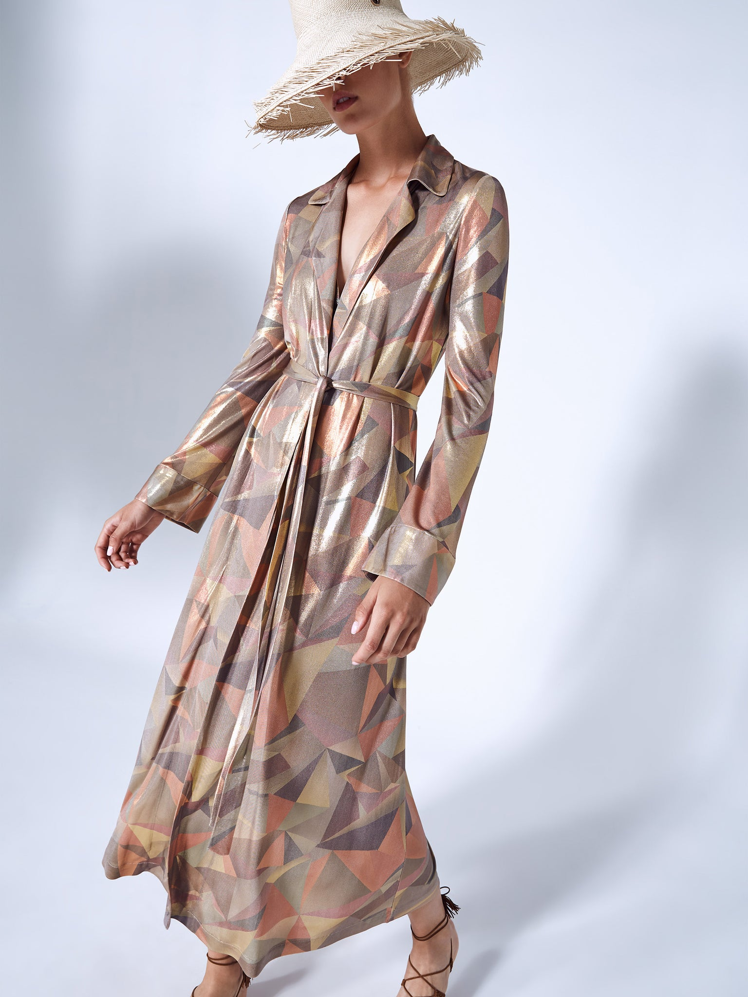 Alexis Beranger robe in bronze abstract print - Rear View