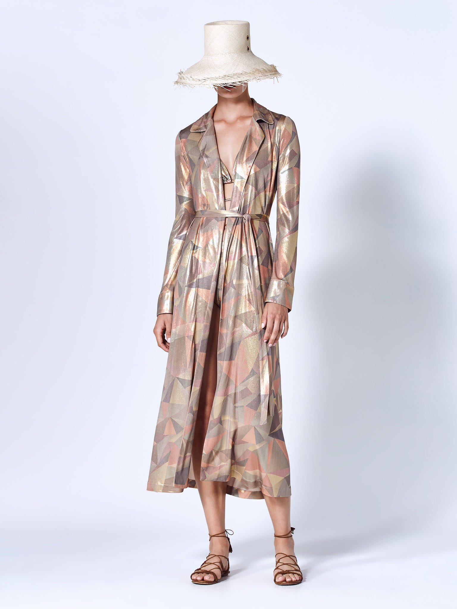 Alexis Beranger robe in bronze abstract print